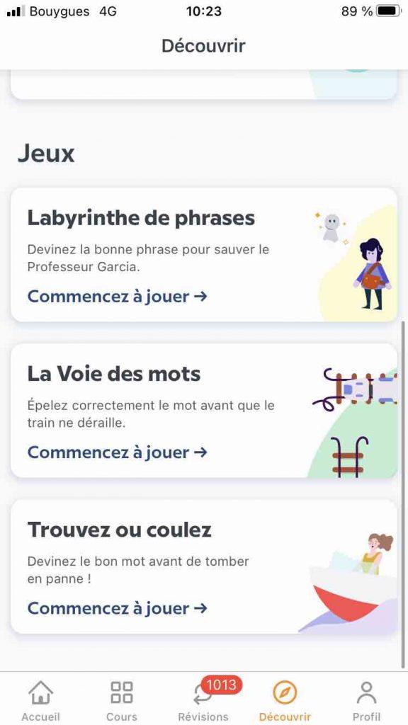 les jeux proposées pour apprendre une langue