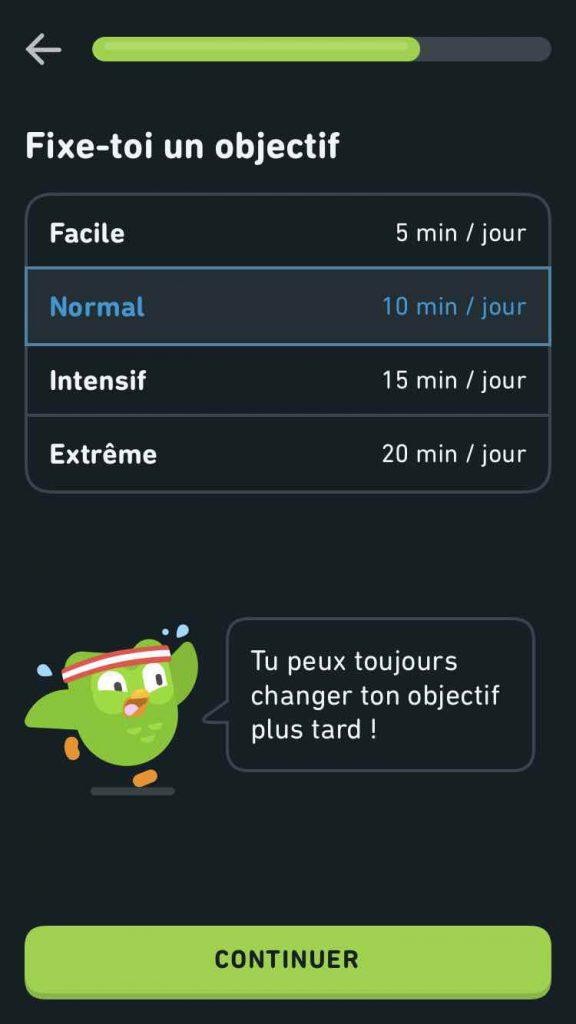 Objectif quotidien de Duolingo