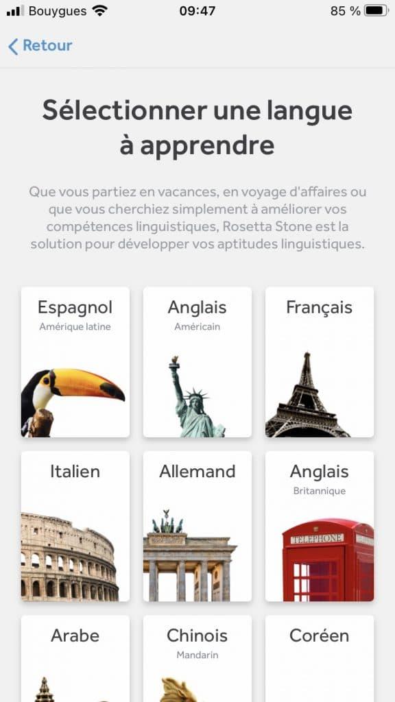 Les langues disponibles avec rosetta stone