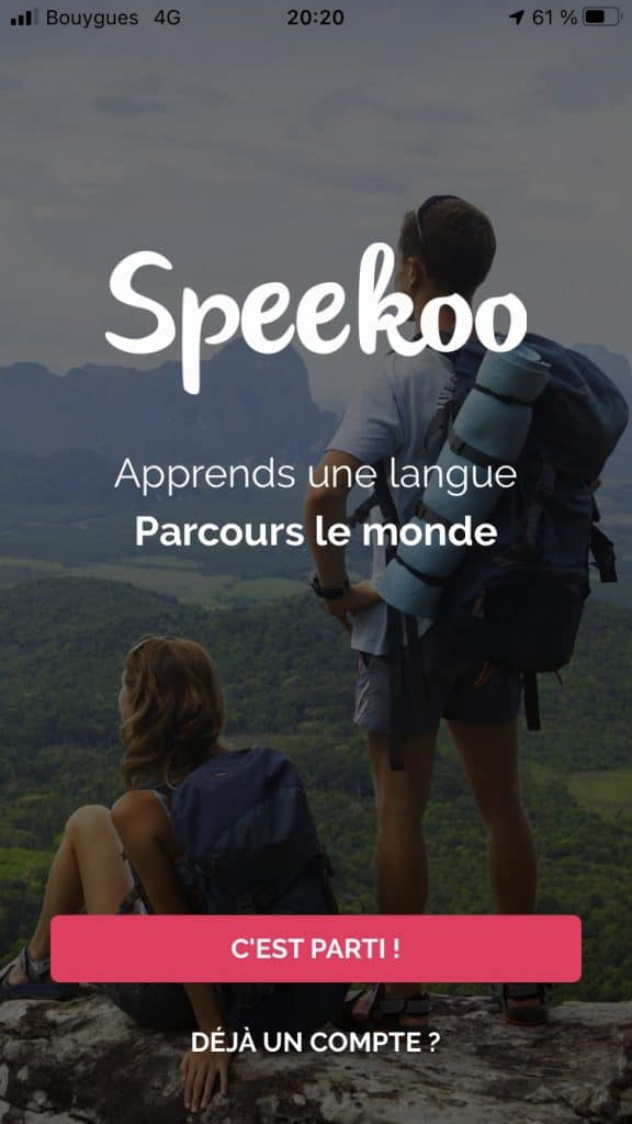 Application Speekoo page d'accueil