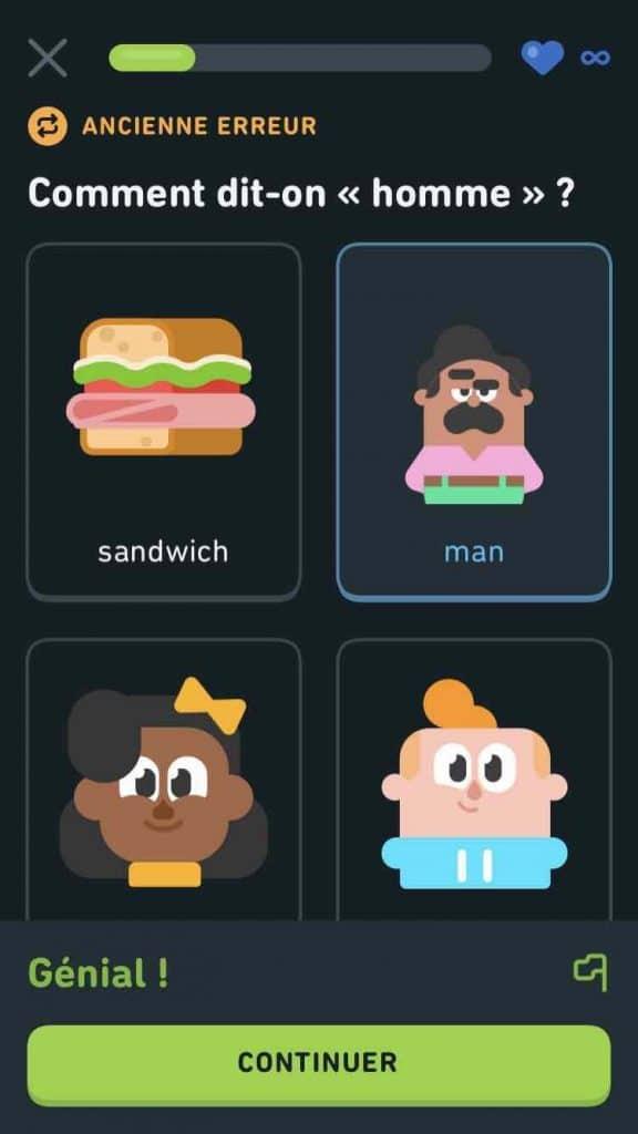 exemple d'exercice sur Duolingo