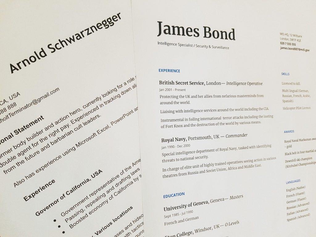 CV en anglais de James bond