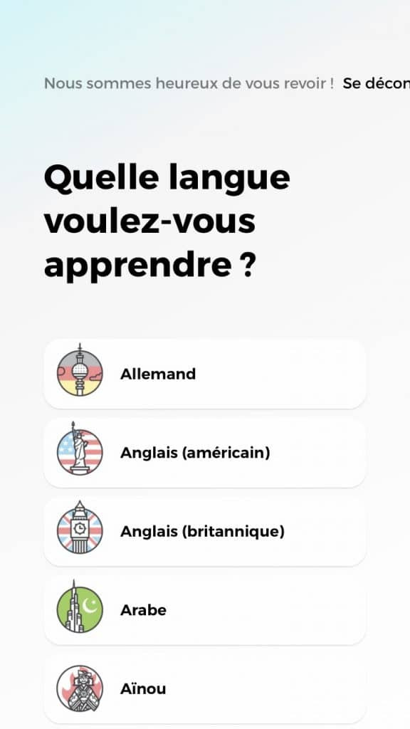 Les langues disponibles sur drops